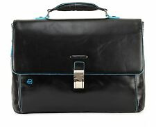 PIQUADRO Blue Square Expandable Computer Briefcase Aktentasche Schwarz