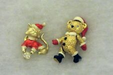2 Vintage Christmas Jewelry Pin Napier Articulated Teddy Bear & Cat rhinestones