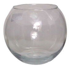 "10 x 8"" OASIS GLASS FISH BUBBLE BOWL ROUND WEDDING TABLE VASE 20cm CLEAR GLA409P"