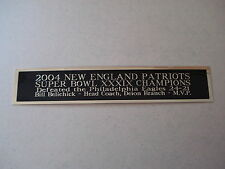 New England Patriots Super Bowl 39 Nameplate For A Football Helmet Case 1.5 X 6