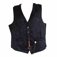 "Steampunk Waistcoat by ""Raven"" in Black with Large Cross & Celtic Knot Print"