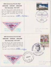Stamps 60th anniversary 1st air mail South Australia Cinderella pair postcards