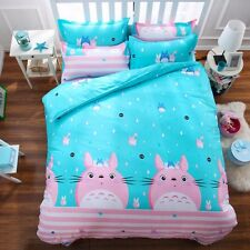 My Neighbor Totoro Bedding Set Pink and Sky Blue Bed Polyester Twin Size