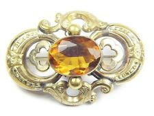 LOVELY ANTIQUE VICTORIAN ENGLISH ORNATE GOLD CITRINE BROOCH PIN c1870