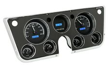 67-72 Chevy Truck C10 Dakota Digital Black Alloy & Blue VHX Analog Gauge Kit