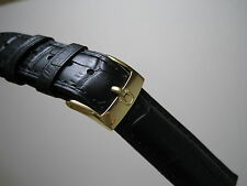 OMEGA 19MM BLACK LEATHER BAND YELLOW GOLD SMALL LOGO BUCKLE