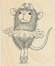 HOUSE MOUSE Ballerina Dance Wood Mounted Rubber Stamp STAMPENDOUS HMV19 New