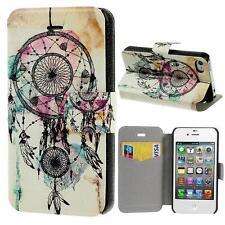 Schutz Tasche Hülle Flip Cover Case Etui für Iphone 4 4S TRAUMFÄNGER BUNT 13C2