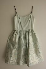 """Vintage French haute couture """" Annik couture silk satin pale blue embroidered"""