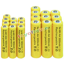 10 AA 3000mAh + 10 AAA 1800mAh battery Bulk Nickel Hydride Rechargeable 1.2V Yel