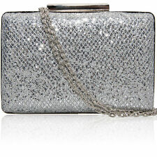New Ladies Sparkling Glitter Hardcase Bridal Party Evening Prom Clutch Purse