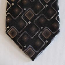 NEW Van Heusen Silk Neck Tie Black w Silver & Brown Retro Pattern 1670