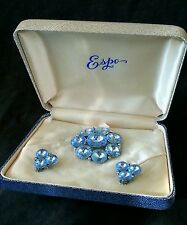 Vintage Weiss jewelry large rhinestone brooch & earrings cased set ca.1940's
