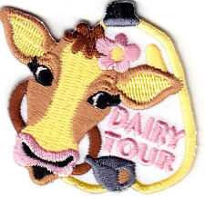 """""""DAIRY TOUR"""" - FARM ANIMALS - COWS - MILK -  IRON ON EMBROIDERED PATCH"""