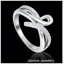Infinity RING Ribbon Eternity Dress 925 Sterling Silver Sz 7.5 + Free Gift Pouch