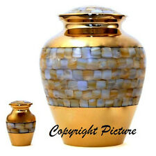 Elite Mother of Pearl Cremation Urn, Adult, Brass, Funeral - New,