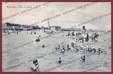 RIMINI RICCIONE 57 SPIAGGIA BAGNI Cartolina viaggiata 1929 ALTEROCCA - TERNI