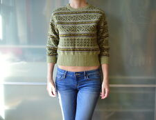 BURBERRY London 100% pure new wool green cropped crop sweater ~ M