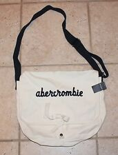 NWT Abercrombie Girls White with Logo Messenger Tote Bag Purse - LAST ONE!