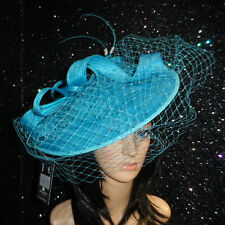 ladies turquoise BLUE WEDDING ASCOT HAT DISC FASCINATOR MOTHER OF THE BRIDE
