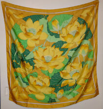 HERMES Fleurs de Lotus gold yellow and green scarf Vintage Antique