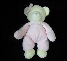 "Stephan Baby Pink Yellow Girl Bow Bear Velour Plush Soft Toy 12"" Sewn Eyes"