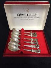 Vintage Siam Gens Thailand Sterling Silver Demi Cast Spoon Set Elephant Handle