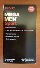 GNC Mega Men - SPORT 90 Caplets - Dietary Supplement - NEW SMALLER PILLS