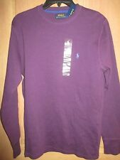 NEW POLO MENS L RALPH LAUREN Waffle Pajama Top Sleep Shirt Thermal Pruple