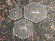 """Quilting Templates- 3 Piece Hexagon Set - 2"""", 3"""" and 4""""  1/8"""" Clear Acrylic"""