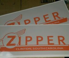 Zipper Clinton SC Vintage Travel Trailer decals orange red and gray set of 2 17""