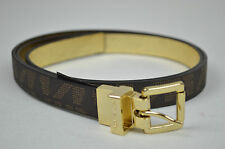 MICHAEL KORS NWT CHOCOLATE BROWN & GOLD SKINNY LEATHER REVERSIBLE BELT SIZE: S