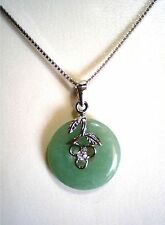 """.925 Sterling Silver Wish You Smoothness Floral Design Green Jade Necklace 15.5"""""""