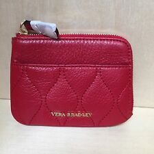 Vera Bradley ~ Quilted Zip Card Case ~ Tango Red Sycamore Leather ~ NEW GORGEOUS