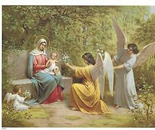 "Catholic Print Picture Virgin Mary Baby Jesus & angels 8x10"" ready to be framed"