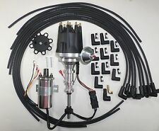 FORD Y Block 272-292-312 BLACK Small Cap HEI Distributor,CHROME Coil, Plug Wires