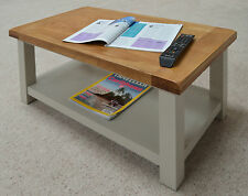 Swainswick Stone Grey Painted Oak Coffee Table with Shelf