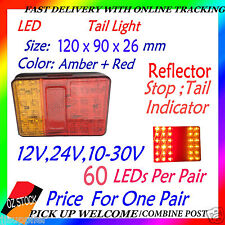 2x 12v 24v LED Tail Light UTE Trailer Caravan Stop Tail Indicator Reflector LED