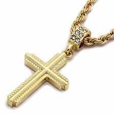"""Mens 14k Gold Plated Braided Cross Pendant With 24"""" inches Rope Necklace Chain"""