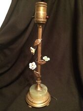 Antique Porcelain Roses Onyx Base French Style Brass Lamp for Restoration