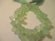 6 pcs  Faceted Briolette  Green Chalcedony  Beads  AC2