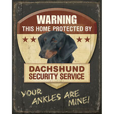 Dachshund Security Alarm Tin Sign