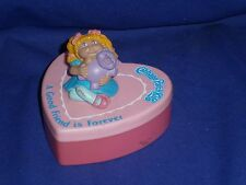 Vintage Cabbage Patch Kids Trinket Box with PVC Doll Figure Circa 1980s 3inch