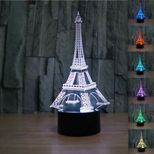 3D illusion Eiffel Tower Bedroom Night color change LED desk table light lamp