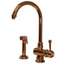 Whitehaus WH17666-PCO Single-Handle Side Sprayer Kitchen Faucet Polished Copper
