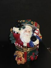 Christmas Holiday CeramicTrinket Box Hinged Santa Clause - Large 5.25""
