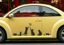 6 Funny Kittens Cats Butterfly Car Bumper Van Window Sticker EDM VW VAG Decal