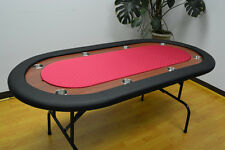 "8 Players 72"" Texas Holdem Poker Table Folding Legs Red Color Felt"