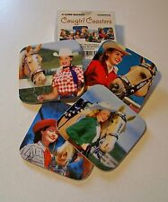 50's style COWGIRL PIN-UP COASTER SET mid century western decor ROCKABILLY Horse