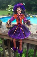 HALLOWEEN WITCH DOLL DECOR HAT FABRIC DRESS RIBBON BOW WREATH BOA GIFT GEMS BOOT